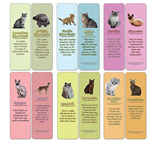 Segnalibri e caratteristiche per cani e gatti (confezione da 12) (12-Pack) Razze di gatto e segnalibri (confezione da 12)
