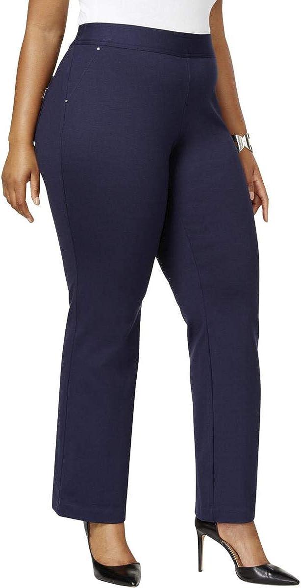 INC Womens Black Zippered Straight Leg Wear to Work Pants Size 24W