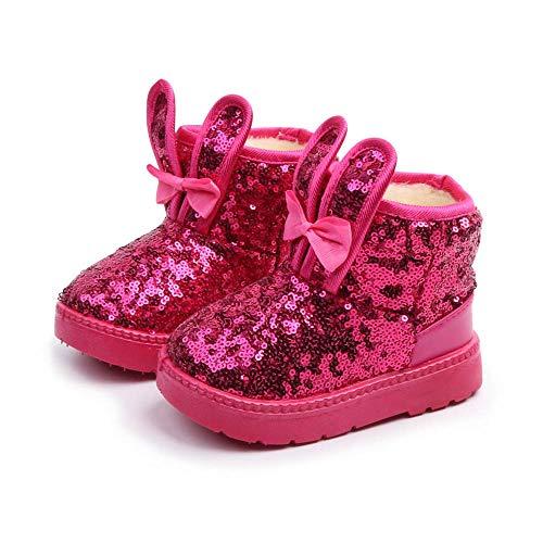 ZODOF Bebé Niños Zapatos Lindos Niños Bebés Infantil Niñas Invierno Conejo Oído Blings Lentejuelas Botas de Nieve Calientes Zapatos(Negro,Rosa Caliente,Rosado) 23-34