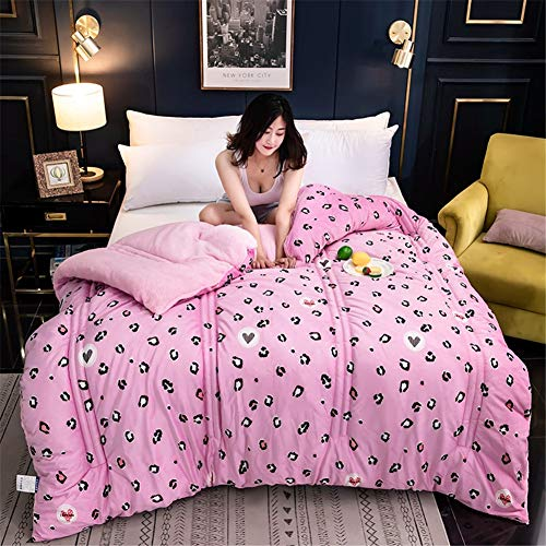 Atack-B Lamb Velvet Fabric Winter Quilt, Cotton Fiber Filled Core, Double-sided Thick Breathable Winter Warm Quilt, Suitable for Home Use and Gifts (Leopard Pink,150 * 200cm 2.5kg)
