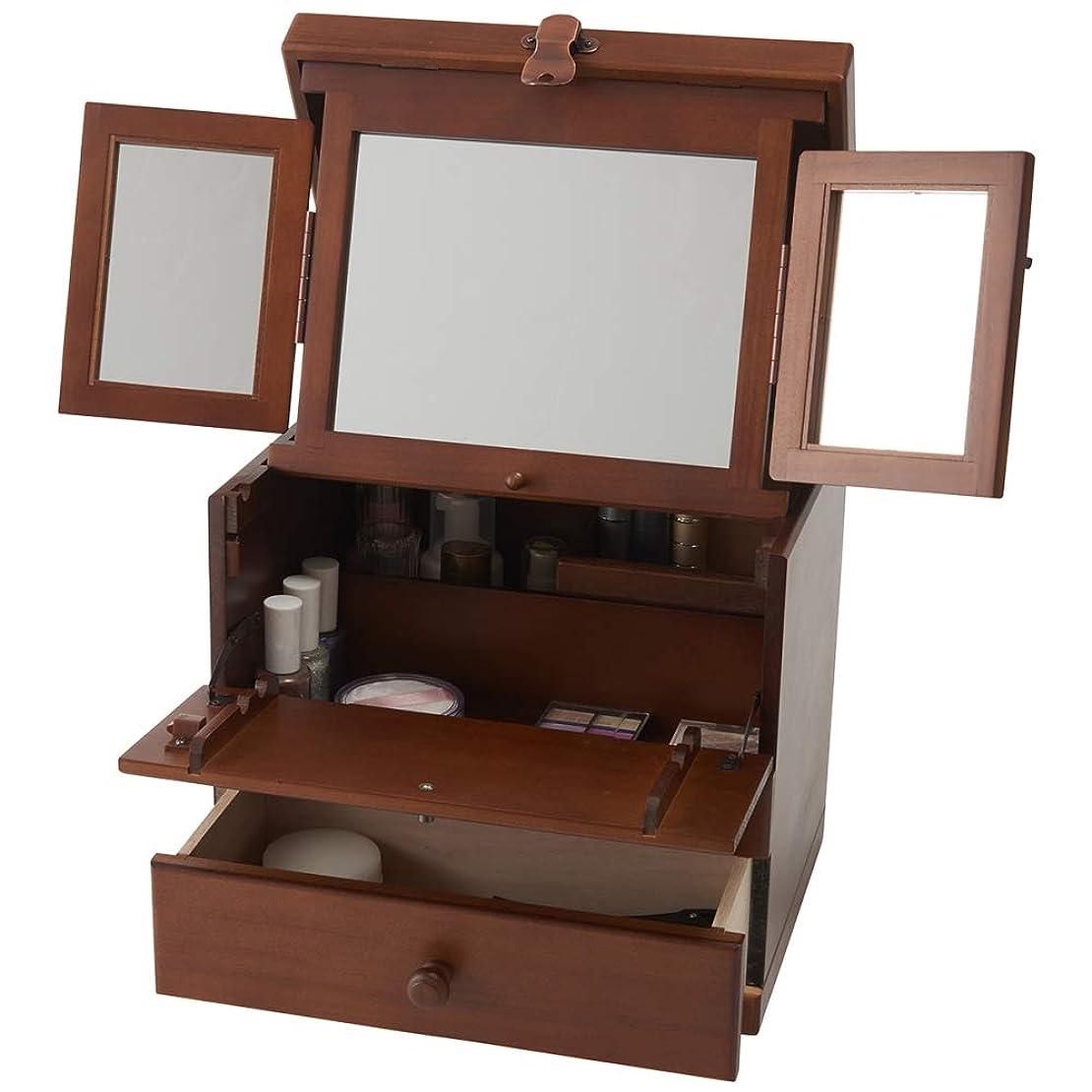 助けになる例示するおもちゃ木製コスメボックス 三面鏡 持ち運び 鏡付き 化粧ボックス メイクボックス 日本製