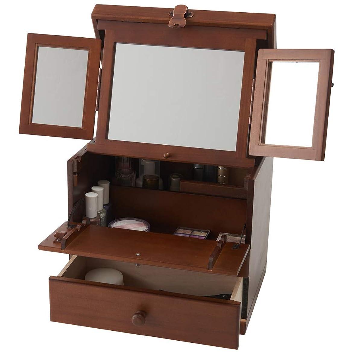 一元化する翻訳者朝食を食べる木製コスメボックス 三面鏡 持ち運び 鏡付き 化粧ボックス メイクボックス 日本製