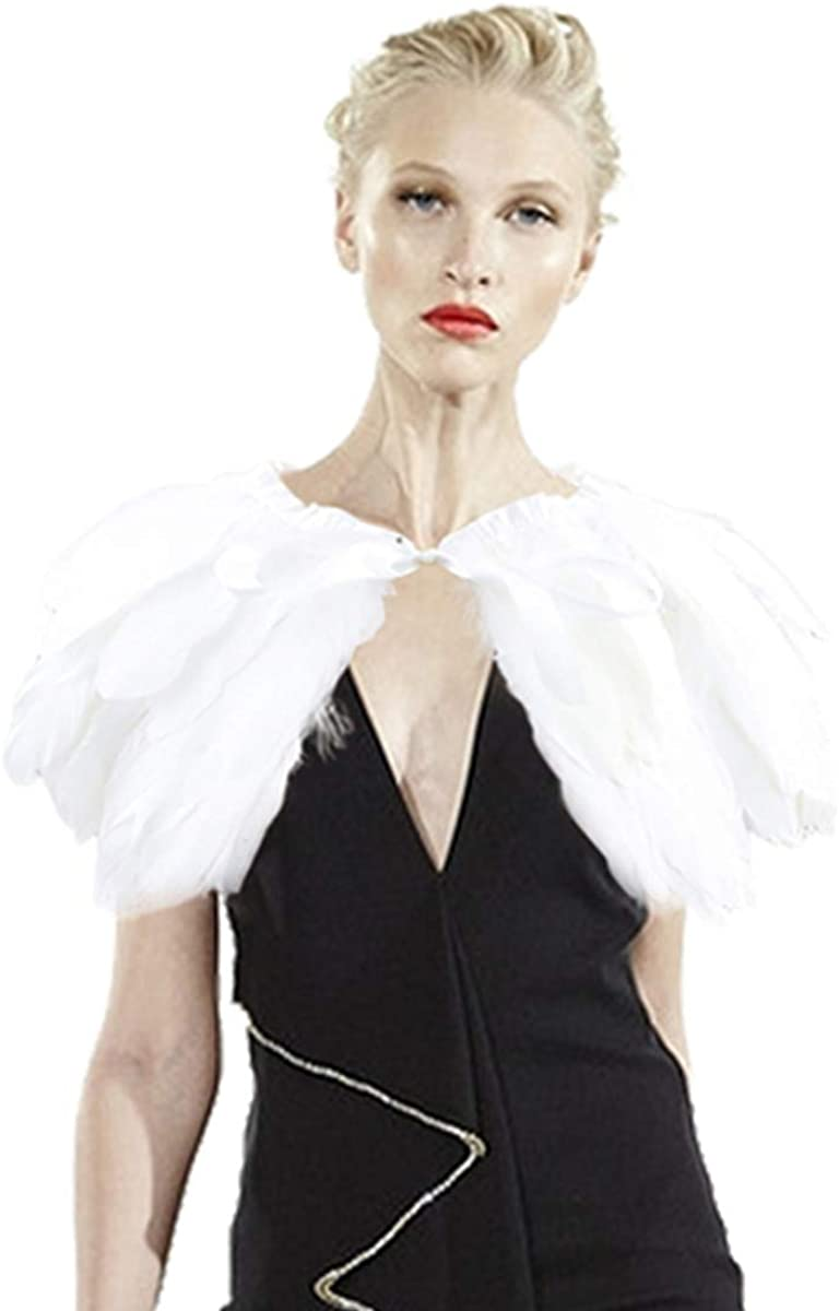 Halloween Cape for Women Natural Feather Shawl Shrug Feathers Collar Pop Cosplay Wedding Soiree Party Costume