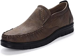 Mens Slip-on Loafers Casual Boat Leather Shoes Dress Shoes Walking Work Flats Summer Lightweight Wear Resistant Canvas