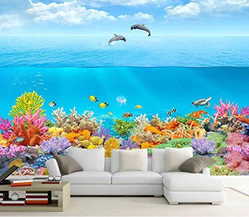 Papel Pintado 3D Murales Delfín azul del océano - Fotomurales Para Salón Natural Landscape Foto Mural Pared, Dormitorio Corredor Oficina Moderno Festival Mural 200x150 cm - 4 tiras