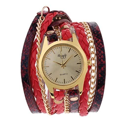 Bonarty Reloj De Pulsera Multicapa De Cuero para Mujer Weave Wrap Pulsera con Remache Reloj De Cuarzo - Rojo