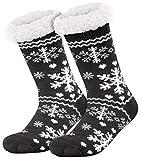 Compagno calcetines amorosos con ABS suela antideslizante calcetines de invierno mujer hombre calcetines 1 par talla única, Color:Negro