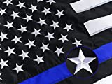 Homissor Thin Blue Line American Flag 3x5- Police Blue Lives Matter Embroidered Stars Flags Banner- Gifts for Law Enforcement Officers