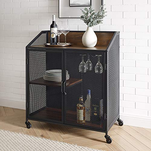 Walker Edison Industrie-Barschrank aus Holz und Metall mit Rollen, Weinglas und Flasche, Küchenablage, 83 cm, Dunkles Walnuss