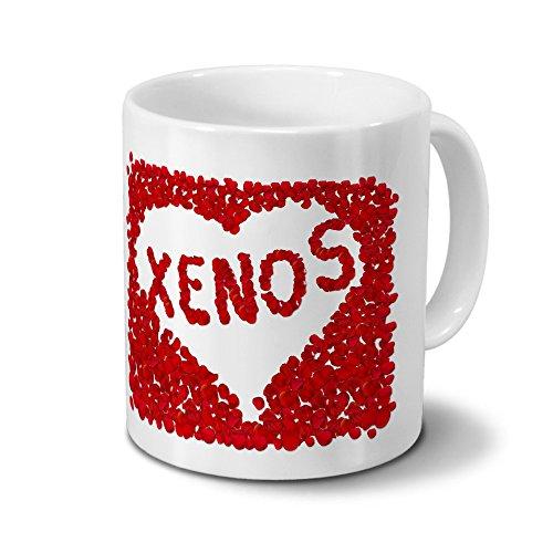 Tasse mit Namen Xenos - Motiv Rosenherz - Namenstasse, Kaffeebecher, Mug, Becher, Kaffeetasse - Farbe Weiß