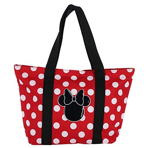 Disney Women's Minnie Mouse Polka Dot Canvas Tote Bag