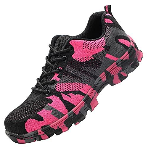 Acero Zapatos Transpirables e Industriales,Seguridad para Hombre con Puntera de Acero Zapatillas de Seguridad Trabajo, Calzado de Industrial y Deportiva,Pink▁44