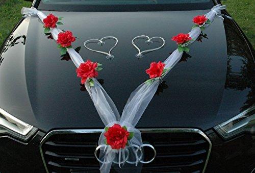 Autoschmuck Organza M + Herzen Auto Schmuck Braut Paar Rose Deko Dekoration Hochzeit Car Auto Wedding Deko Ratan (Rot/Weiß/Weiß)