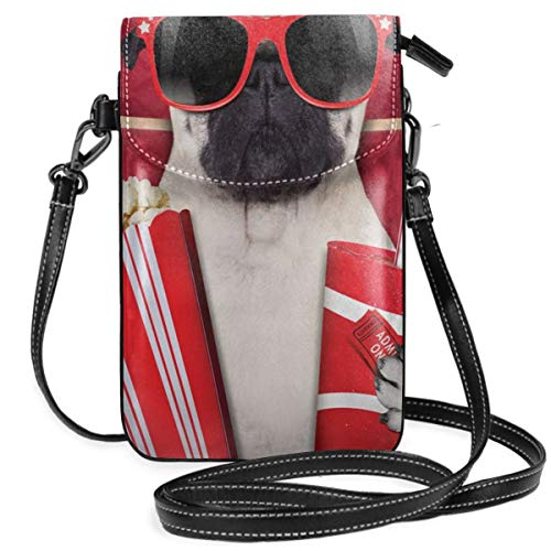 Women Small Cell Phone Purse Crossbody,Funny Dog Watching Movie Popcorn Soft Drink And Glasses Animal Photograph