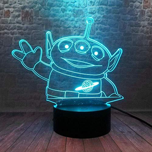 3D Night Light Illusion Light Toy Story 4 3D Illusion Led Light 7 Cambio de color Night Light Alien Anime Figure Boy Toy