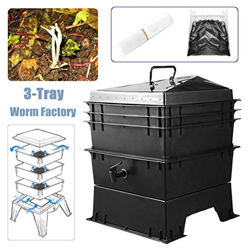 Buy Discount CRZJ Outdoor Garden Compost Bins, 3-Tray Worm Composting Kit, 80L DIY Composter, Black