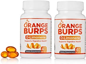 Orange Burps D-Limonene Softgels (2 Pack, 80 softgels Total) | All-Natural Orange Peel Extract Acid Reflux & Heartburn Die...