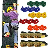 Ogrmar 15 Packs Ninja Tree Rock Climbing Holds Kits with 6 Ratchet Straps for...