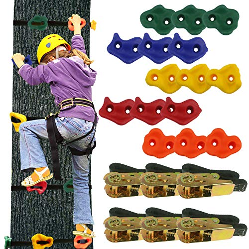 Ogrmar 15 Packs Ninja Tree Rock Climbing Holds Kits with 6 Ratchet Straps for Kids & Adults Outdoor Backyard Ninja Tree Warrior Obstacle Course Training