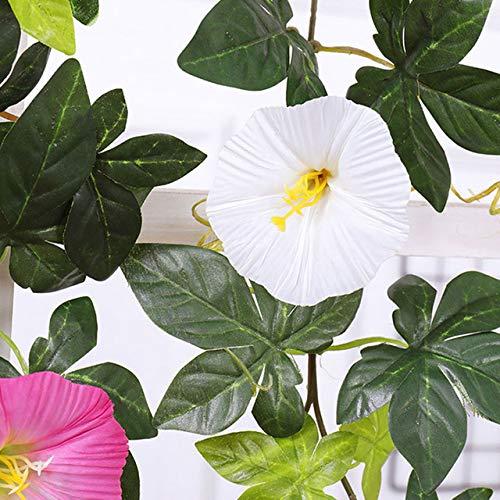 GGDMLJH Kunstmatige nep bloem Simulatie Ochtend Glorie Rotan Decoratieve Nep Bloem Indoor Airconditioning Pijp Blokkeren Verwarming Kunststof Bloem Plant Wijnstok Wit