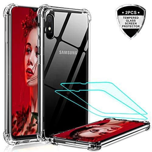 LeYi Funda Samsung Galaxy A10 con 2-Unidades Cristal Vidrio Templado, Cristal Transparente Shockproof Carcasa Ultra Silicona PC y TPU Slim Gel Bumper Antigolpes Cover Case para Movil A10, Clear