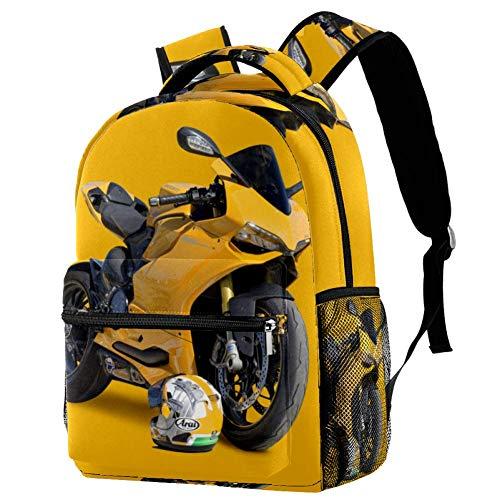Schultasche Gelber Motorradhelm Leichtgewicht Wasserdichter Einzigartige Grundschule Backpack für Mädchen Teenager Jungen 29.4x20x40cm