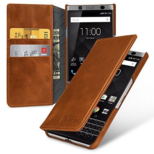 keledes Echtleder Brieftasche Hülle kompatibel mit BlackBerry Keyone, Cognac Braun