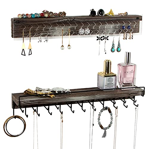 J JACKCUBE DESIGN Wall Mount Necklace Holder Jewelry Hanger with 23 Hook Necklace & Bracelet Racks, Rustic Farmhouse Wood Earring Display with Clear Acrylic - MK585A
