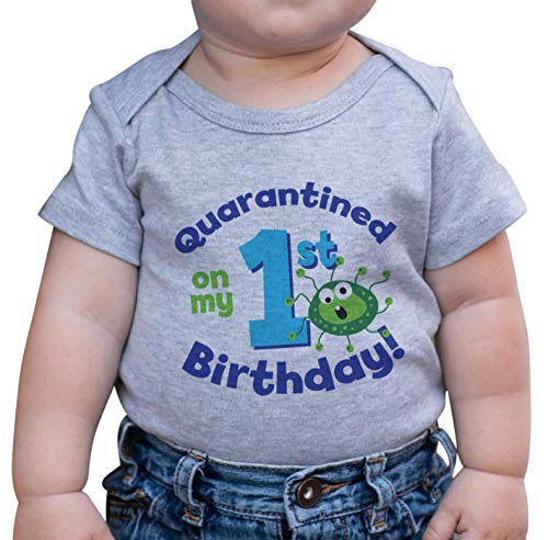 7 ate 9 Apparel Quarantined On My 1st Birthday Grey Onepiece 12-18 Months