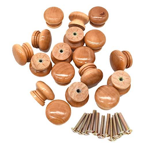 Liwein Pomelli per Cassetti Legno,30 pezzi pomelli per Mobili Rotonde Manopole in Legno Naturale Manopole di Cassetto con viti per Cucina Camere Armadi Comodino 28mm