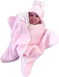 Newborn Baby Girls Starfish Swaddling Blanket Sleepwear Sleeping Bag Nightgowns (Pink, 70)