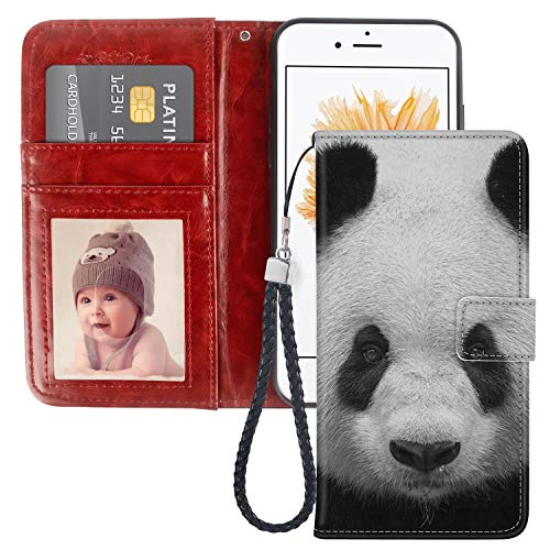 Panda Wallet Case Compatible with iPhone 5S/iPhone SE/iPhone 5 for Girl