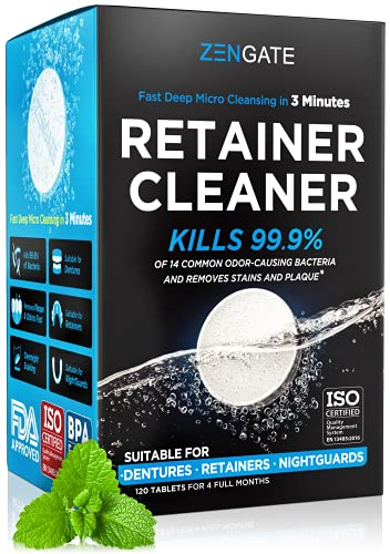 Retainer & Denture Cleaning Tablets - Dental Cleaners for Odor & Plaque - 3 Min Cleaning for Retainers, Aligners & Mouth Guards - USA Formulated - 4 Month Supply (120 pcs)