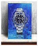CCZWVH Decoración del hogar 1 Piezas de Lienzo Rolex Relojes de Moda Pintura Arte de la Pared Cartel Imagen Modular para el Fondo de la Cama 16x24 Inch Sin Marco