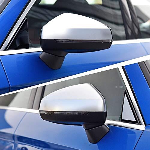 Cubierta del espejo retrovisor Caps A3 8V S3 Lateral Espejo De Ala Cubierta De La Cáscara Fit For Audi A3 S3 De Aluminio Plateado Espejo Cromo Mate 2015 2016 2018 Reemplazo Cubierta de retrovisor late
