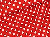 Swafing Baumwolljersey Verena Punkte weiß auf Rot