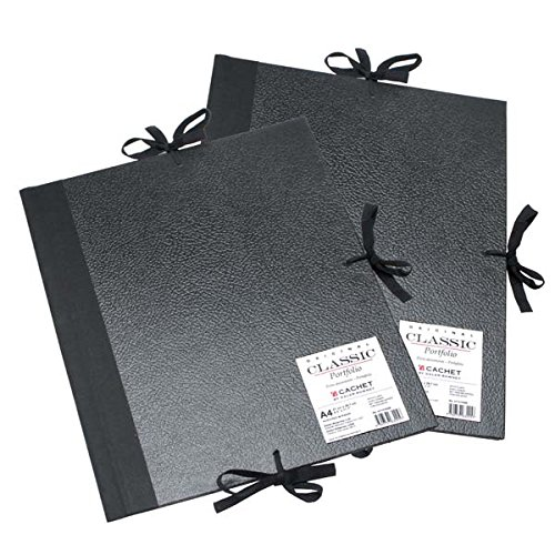 Daler-Rowney Cachet Classic Portfolio, Hard Cover with Cloth Ties, 17 x 22 inches, Black (471301722)