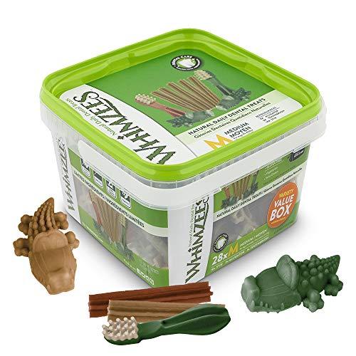 WHIMZEES Gemischte Vielfaltsbox, natürliche, getreidefreie Zahnpflegesnacks, Kaustangen für mittelgroße Hunde, 28 Stück