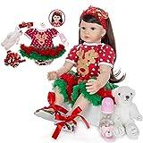 ZHANGYY Reborn Toddler Dolls 24 Inch Princess Girl con Pelo Largo Muñeca de Vinilo de Silicona Suave Muñeca recién Nacida de Moda para cumpleaños
