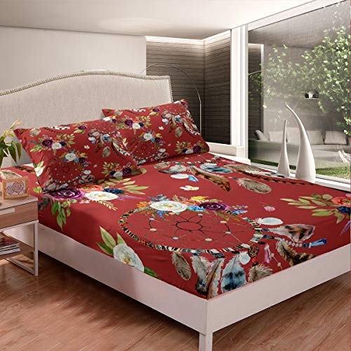 Loussiesd Dreamcatcher - Juego de sábanas bajeras para niñas, diseño bohemio, estilo hippie de plumas indias bohemias para mujer, decoración de dormitorio, funda de cama con 1 funda de almohada