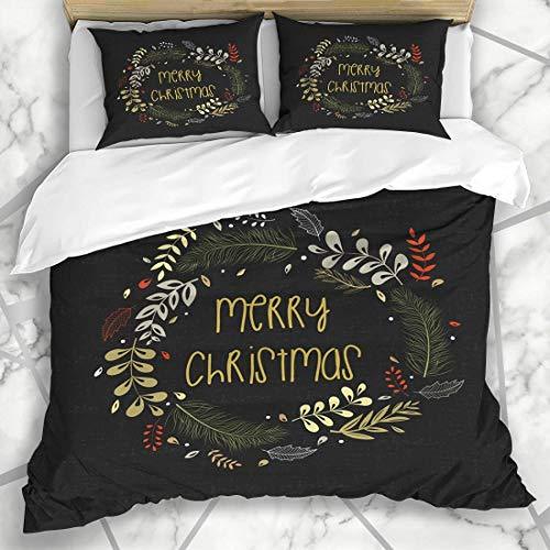 Juegos de fundas nórdicas Escritura a mano Guirnalda rústica roja Felicitaciones Vacaciones de Navidad Diciembre Planta ortodoxa Ropa de cama de microfibra vintage con 2 fundas de almohada Cuidado fác
