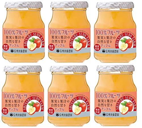 スドージャム 砂糖不使用 100%フルーツ アップルジャム 185g×6個