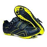 AGYE Chaussures de Cyclisme pour Hommes Femmes VTT Chaussures D'équitation Chaussures de Cyclisme en Plein Air Respirantes pour Chaussures de Vélo à Pédale de Verrouillage,BlackB-EU46