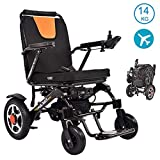 AMITD Silla De Ruedas Eléctrica,Power Plegable Wheelchair Ligera De La Aleación De Aluminio Silla,Conduzca con Potencia O Use como Silla De Ruedas Manual,Asiento de 45 cm