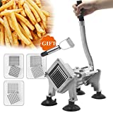 Huanyu Manual French Fry Cutter Potato Chips Cutting Machine Slicer Fruit Vegetable Cutter 8mm/10mm/12mm Stainless Steel Blades Kitchen Tool Commercial Machine (Machine with 8+10+12mm blades)