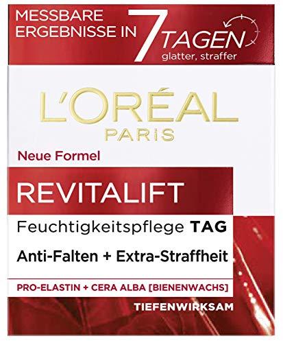 L'Oréal Paris Revitalift Feuchtigkeitspflege, Gesichtscreme mit hochwirksamen Pro-Elastin und Bienenwachs, gegen Falten und für eine straffe Haut, 50 ml