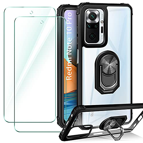 ivencase Funda Compatible con Xiaomi Redmi Note 10 Pro/10 Pro MAX, 2 Pack Cristal Templado, Transparente Airbag Anti-Choque Protector Carcasa con 360 Grados Imán Soporte Silicona Bumper Case,