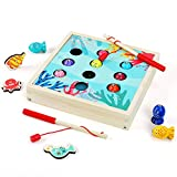 QZMTOY Wooden Magnetic Fishing Game Features Birthday Learning Education for 24 Months+ Girls Boys Kids Aquatic Animal Mat Toys with Magnet Poles