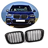 HUYAYUN Rejilla Delantera Adecuada para BMW X3 G01 X4 G02 2018-2019 Juego De Molduras De Rejilla De Riñón De Parachoques De Repuesto De Abs, 2 Piezas