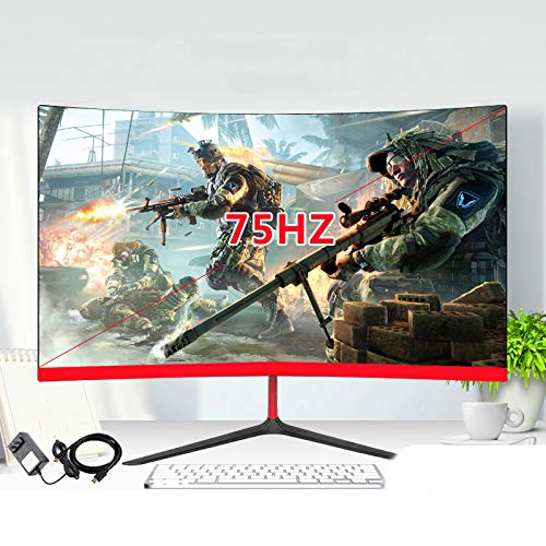 QAIYXM 24-Zoll-Curved LED-Monitor, Spiel-Spiel-Wettbewerb LED/LCD-Computer-Display-Bildschirm Voll HDD Eingang HDMI/VGA,Rot
